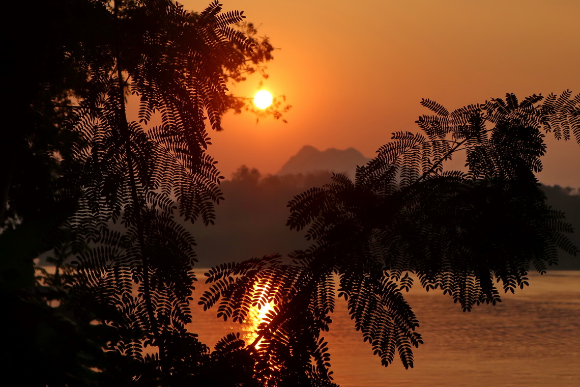 Sunset on Mekong which is one of the largest river on earth