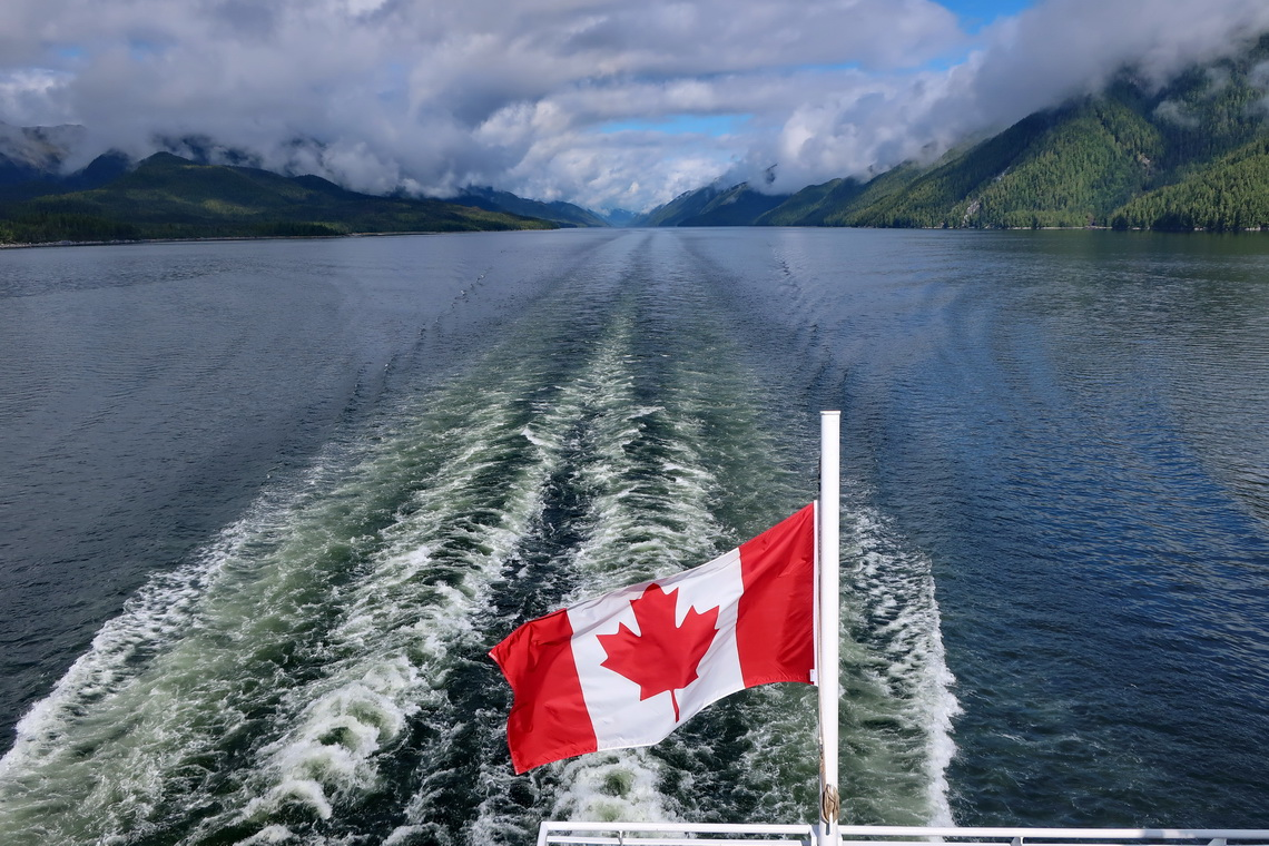 Canadian flag on the ferry through the Inside Passage