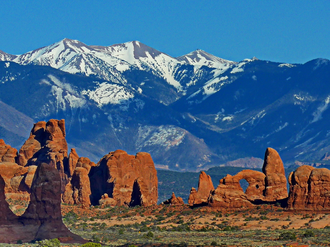In the Arches National Park with Manti-La Sal mountains