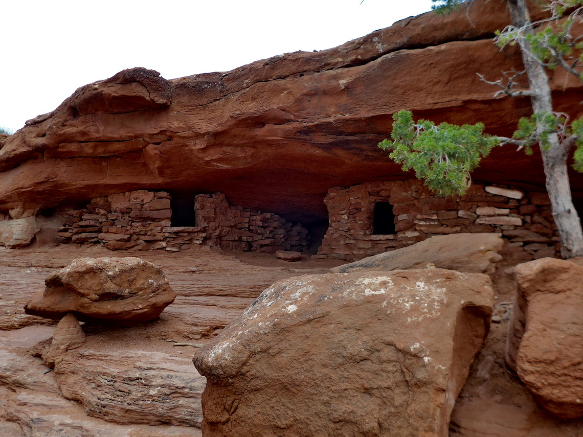 Ancestral Puebloan Granaries on the smaller Aztec Butte