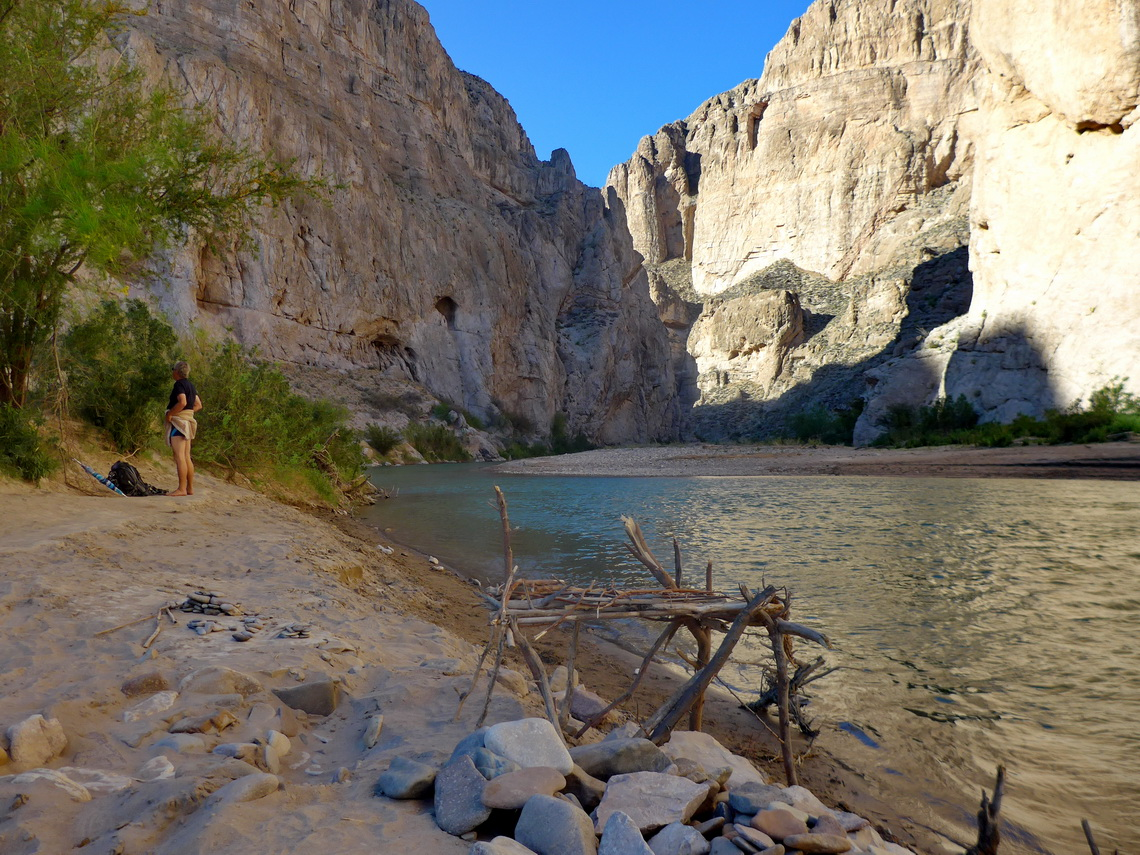 After swimming in Rio Grande with Boquillas Canyon