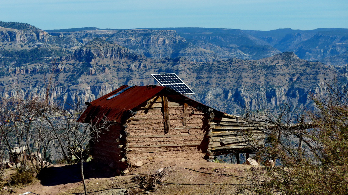 Little hut with solar panels on the way into the Copper Canyon