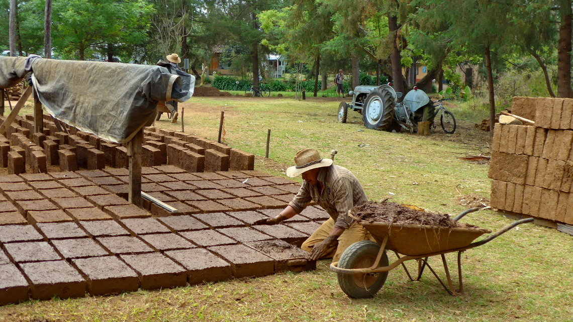 Manufacturing adobe bricks close to our campground
