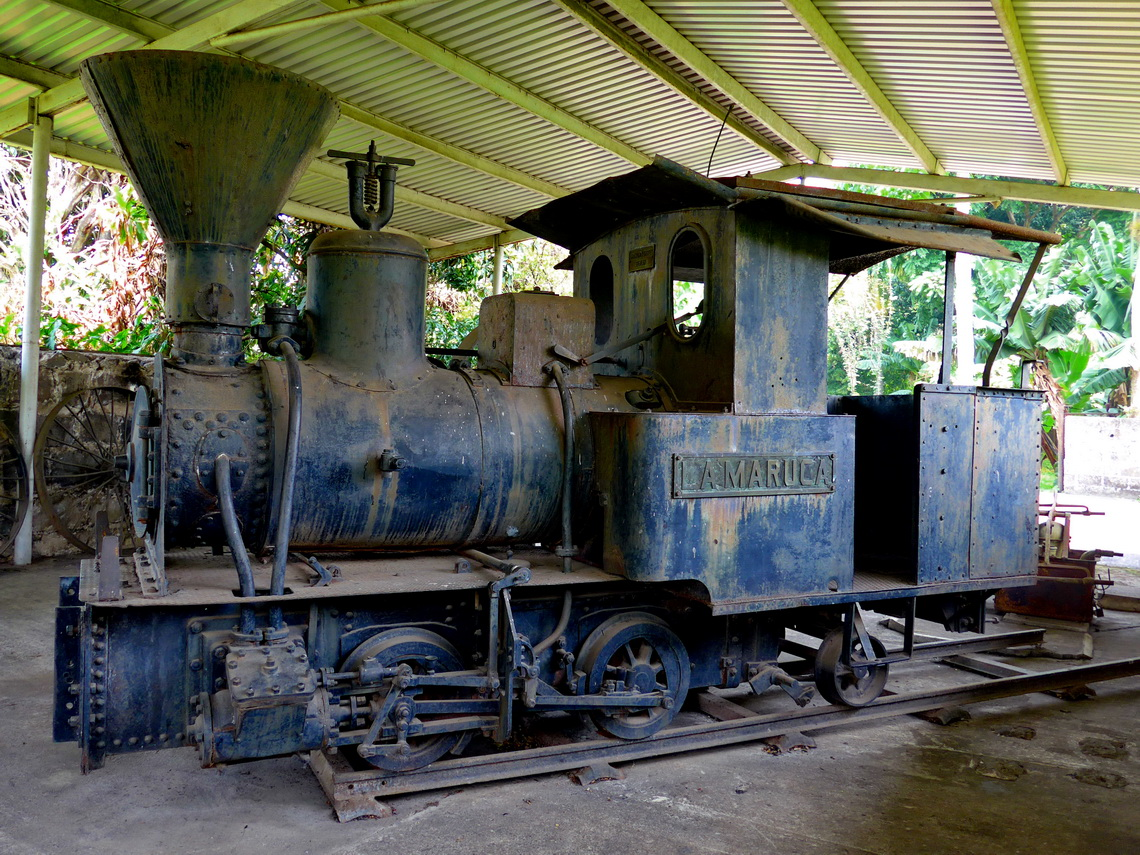 Old steam locomotive of the abandoned sugar plant