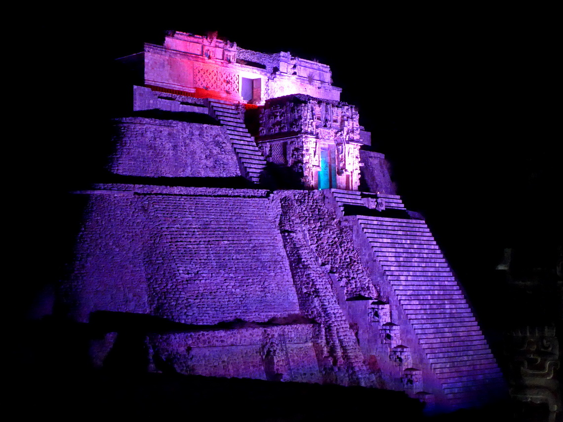 The 39 meters high temple Casa del Advino -The Magician's house of Uxmal