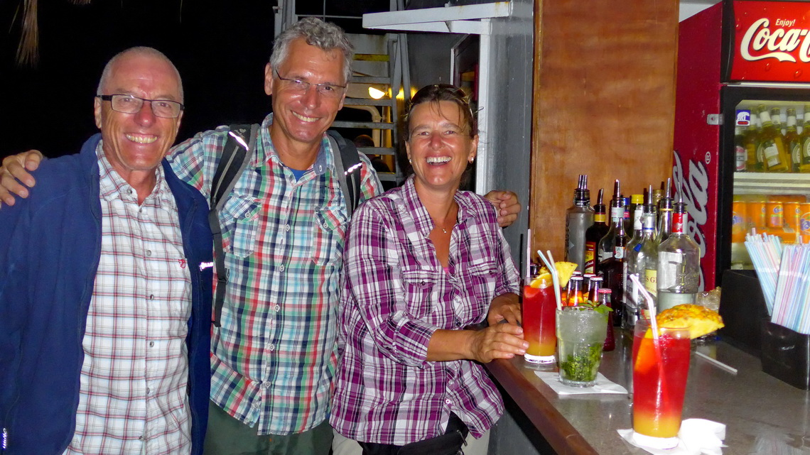 Celebrating on the ferry - Renaud, Alfred and Christa with some fancy drinks