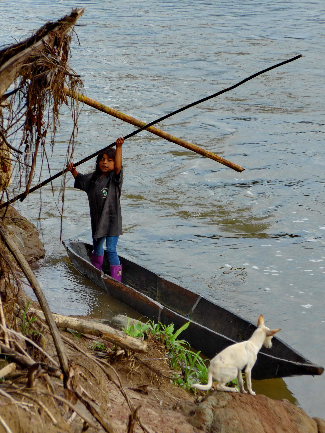Girl in a logboat