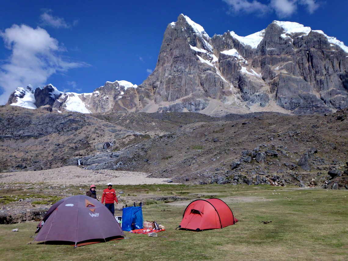 Our sixth camp San Antonio with the western wall of Nevado Cuyoc 	(5550 meters sea-level)