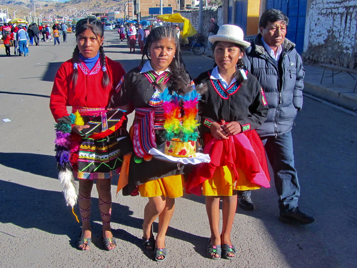 Beautiful girls enjoying a fiesta in Puno