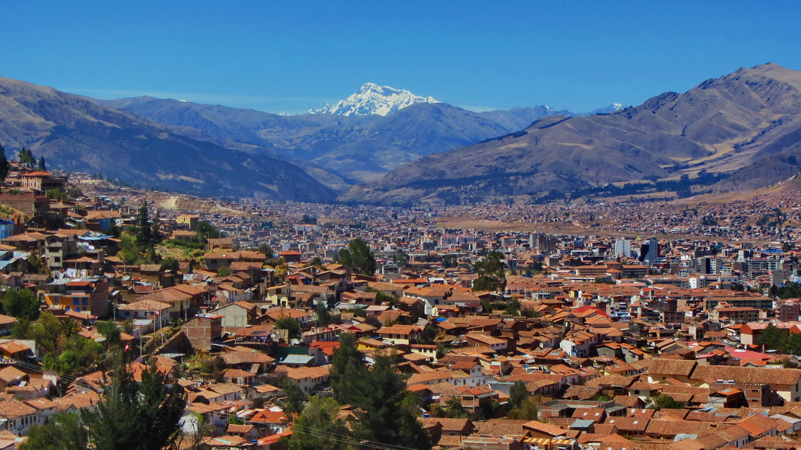 Cusco with the holy mountain Ausangate, with 6384 meters sea-level the highest summit in Southeast Peru