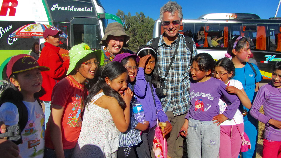 Peruvian kids visiting Saqsaywaman and Cusco