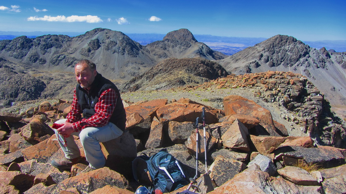 Tommy on the main summit of Cerro Kari Kari