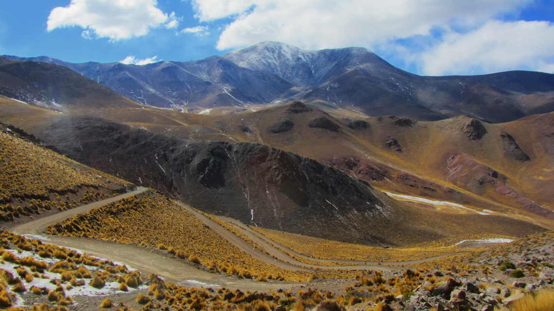 Ruta 40 seen from the icy part with 5950 meters high Nevado de Acay