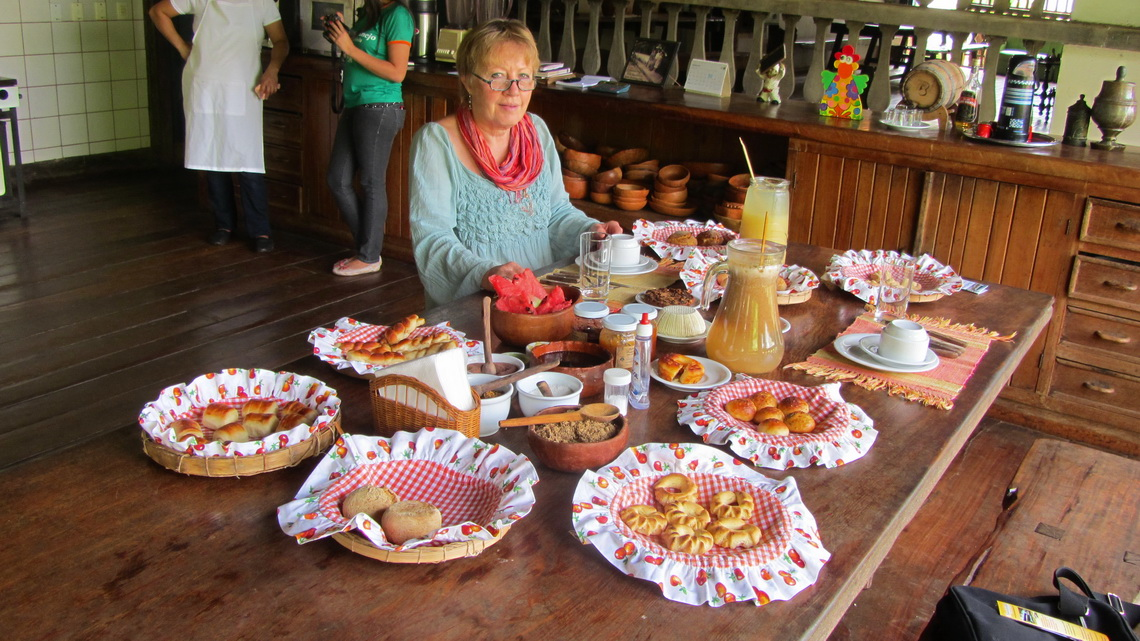 Rich colonial breakfast with 28 dishes on the farm Fazenda Babilonia close to Pirenopolis