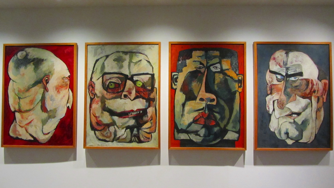 Painting in the national museum from Oswaldo Guayasamin, from left: The Pastor, the Dictator, the Soldier and the President