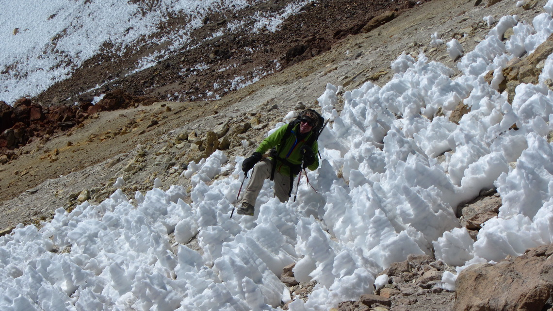 Fighting with snow and ice penitents on the way to the summit of Chachani