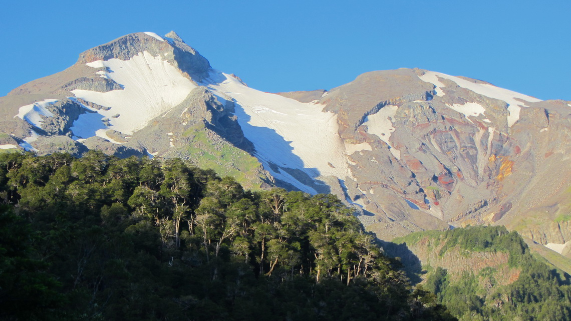 Volcan Calbuco at sunset - our route is the ridge on the left