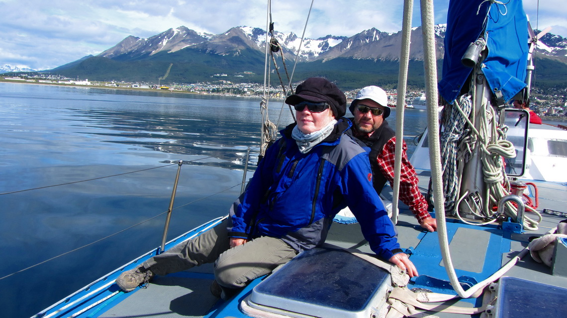 Marion and Tommy on a sailing ship