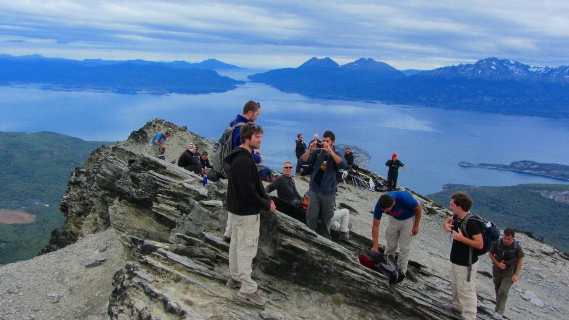 Busy summit of Cerro Guanaco with the Beagle Channel in the background