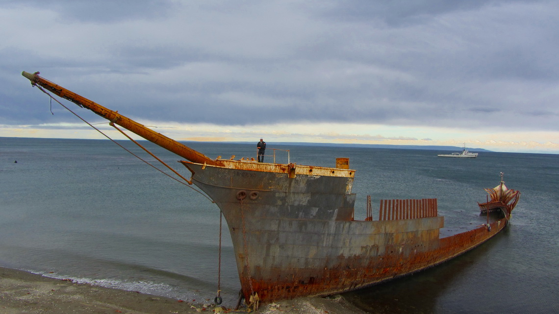 One of the wrecks on the shore South of Punta Arenas