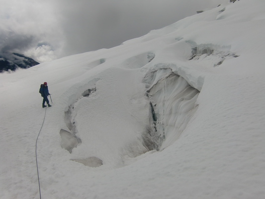 Huge crevasse on the glacier of Cerro Charkini