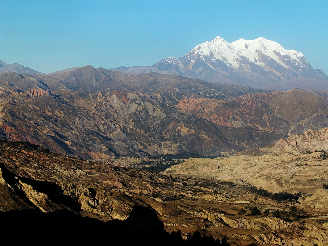 Majestic Nevado Illimani, the highest mountain of the Cordillera Real