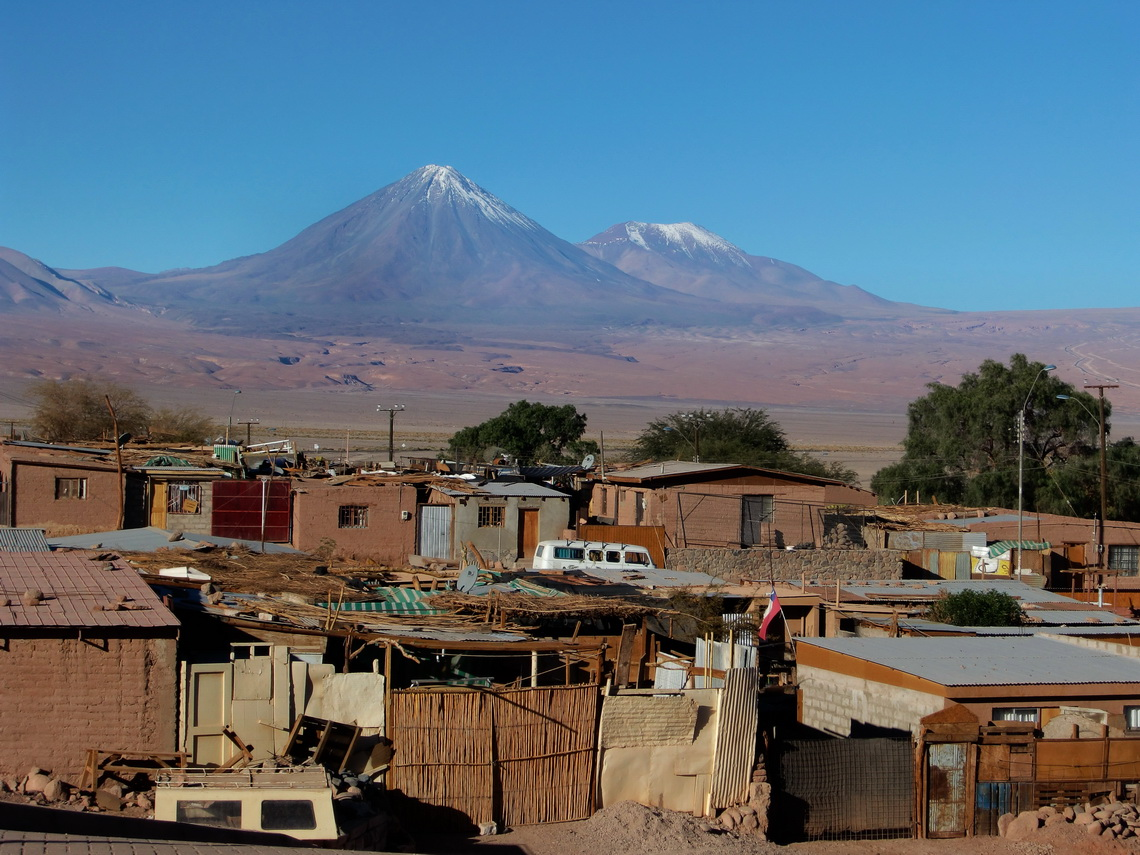 Volcanoes Licancabur and Juriques with the suburbs of San Pedro