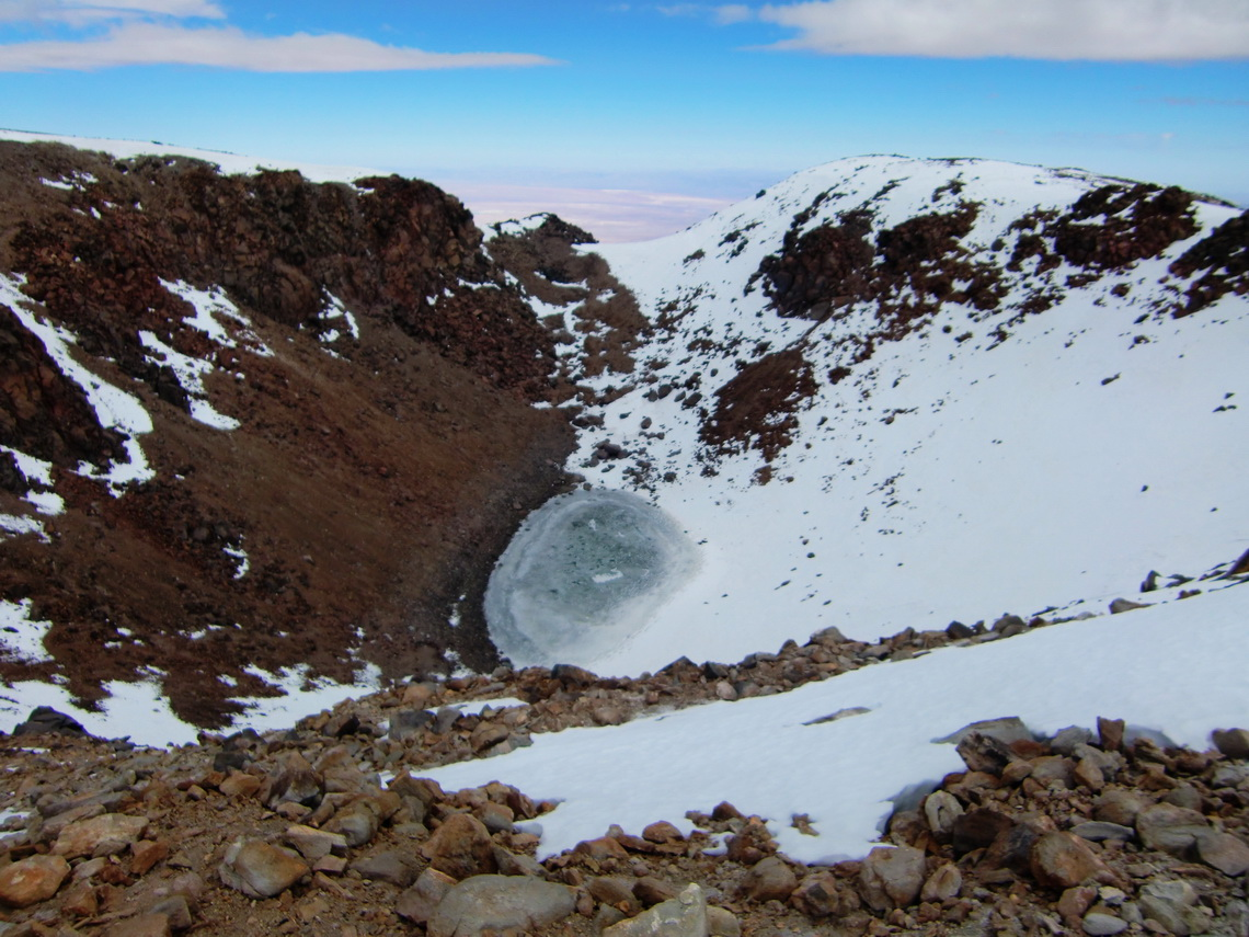 The crater with the frozen lake