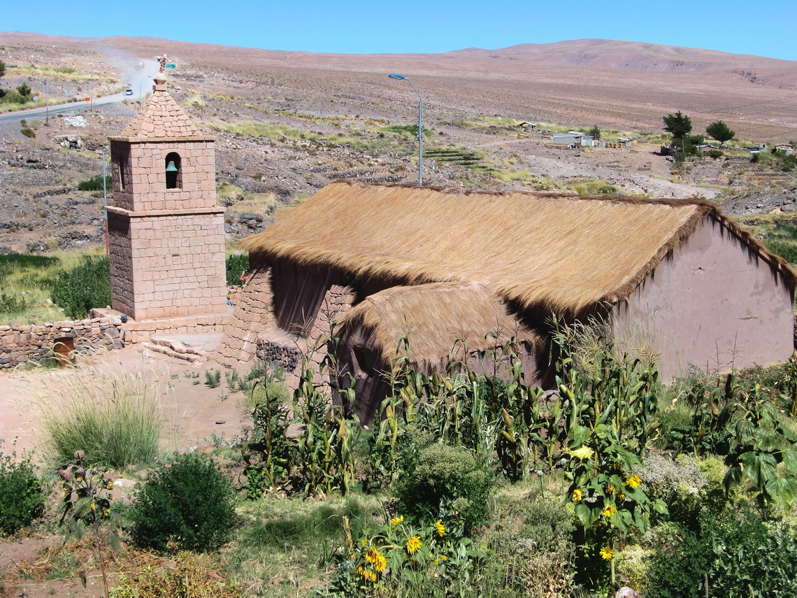 The ancient adobe church of Socaire
