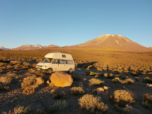 Our first camp with Lascar in the background