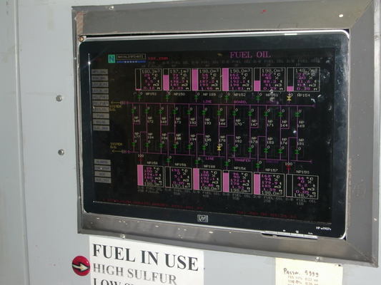Monitoring the 12 fuel tanks - pink bars indicate fill levels