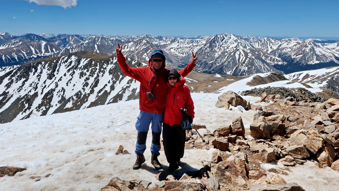 Marion and Alfred on top of Mount Elbert