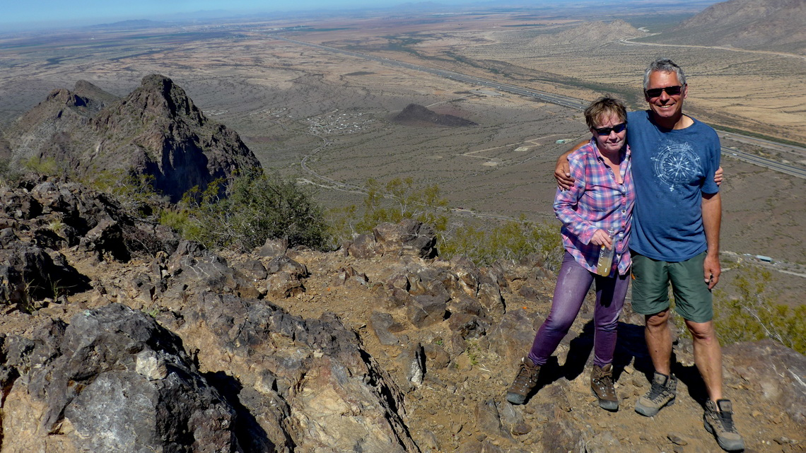 Marion and Alfred on top of 1011 meters high Picacho Peak