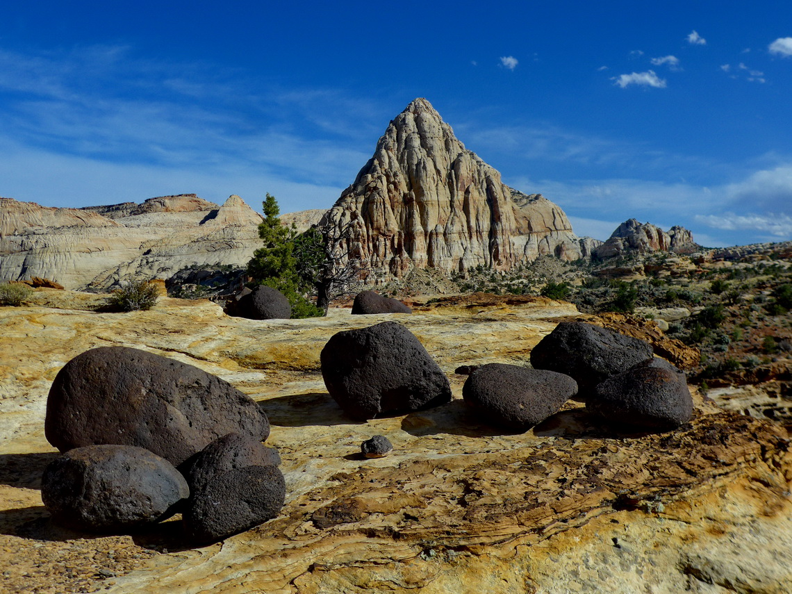 Pyramid with black lava stones in the Capitol Reef National Park