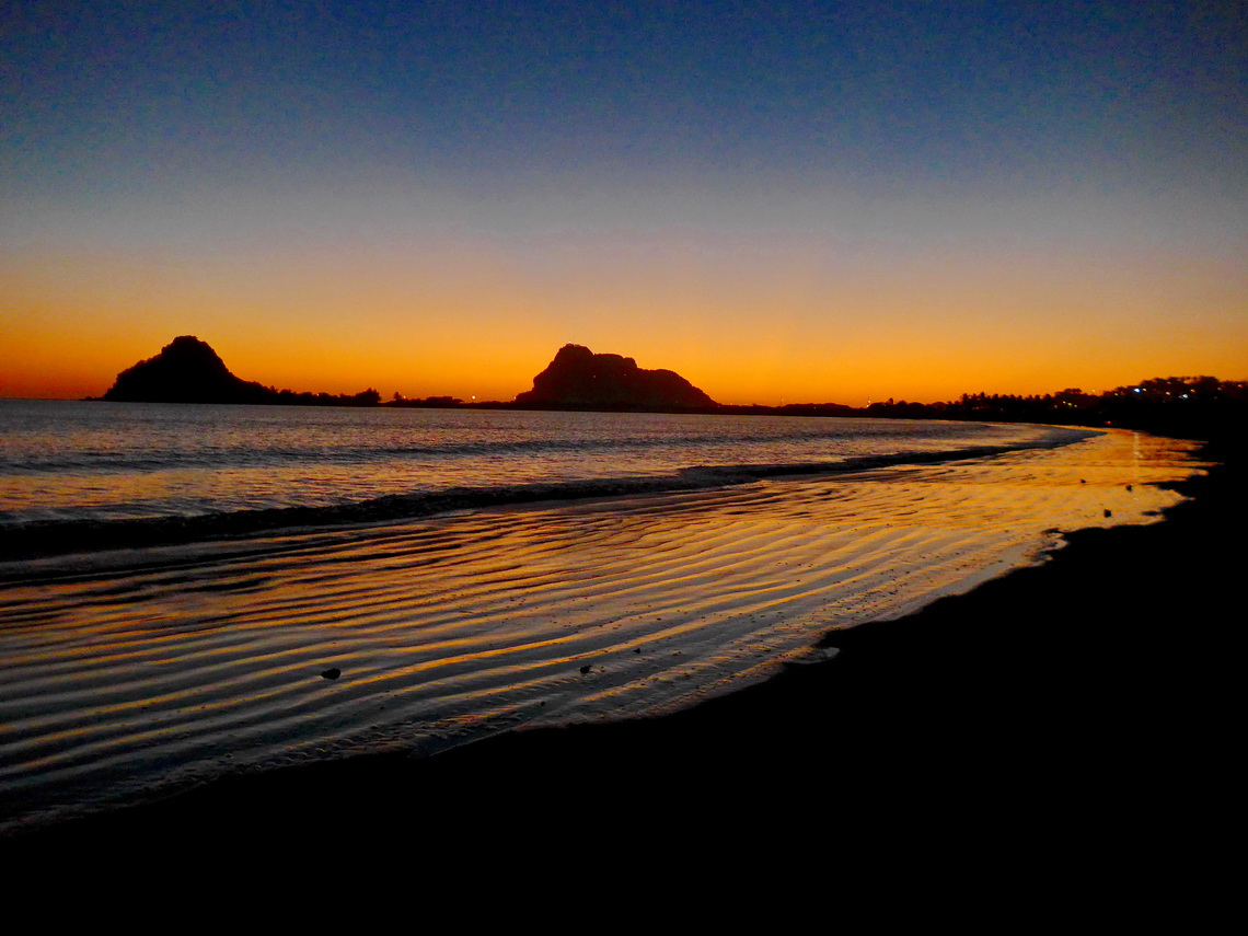 After sunset on the southern beach of Mazatlán