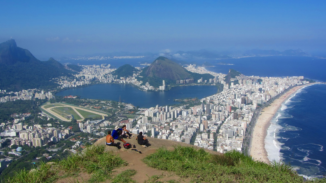 Marvelous views from the summit of Morro Dois Irmaos with Corcovado, Lagoa Rodrigo de Freitas, Ipanema and Leblon