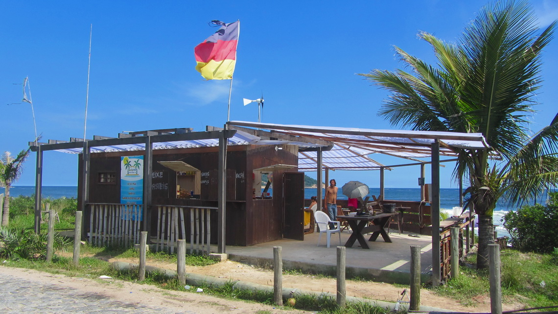 The German flag on the beach of Grumari