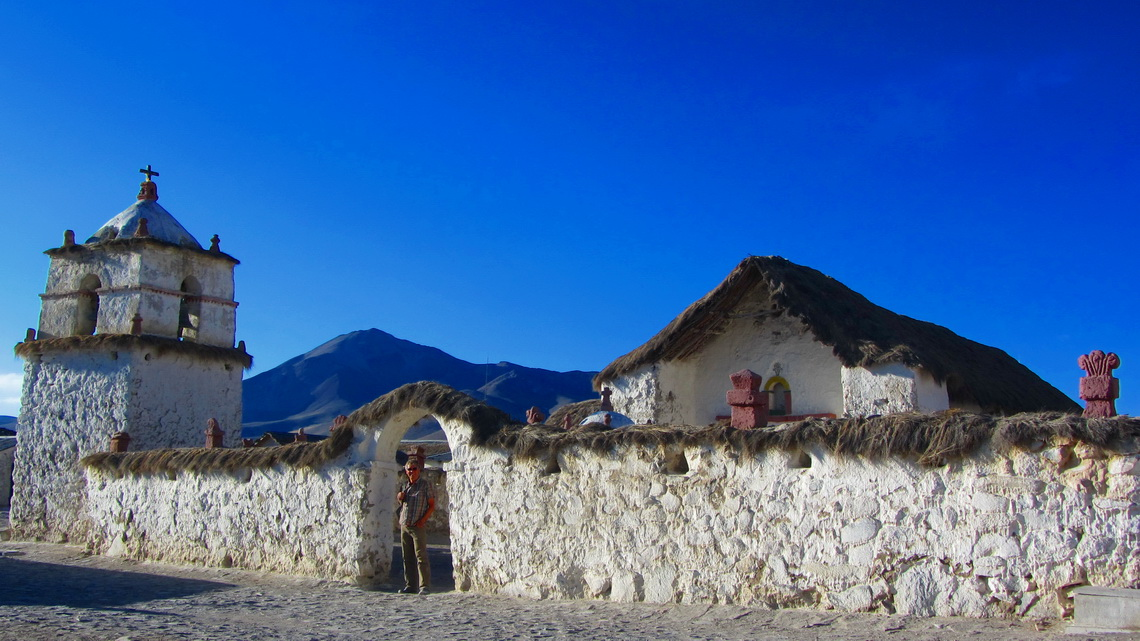 The church of Parinacota with Cerro Guane Guane in the background