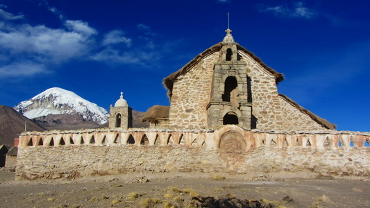 The church of Sajama with Nevado Sajama