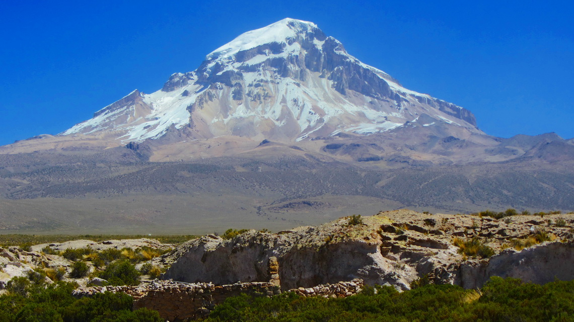 Eastern side of Nevado Sajama, the king of Bolivia